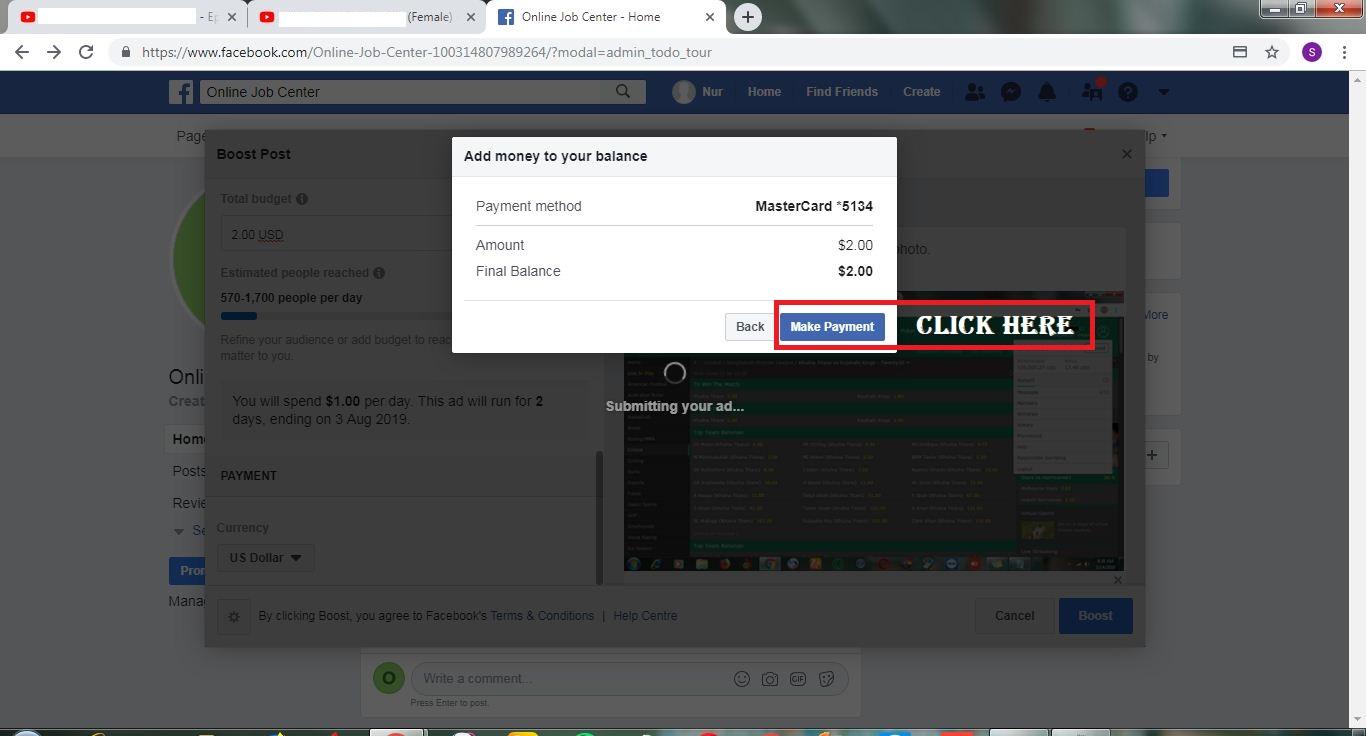 Facebook Make Payment